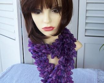 Hand Knitted Purple Samba Frilly Scarf