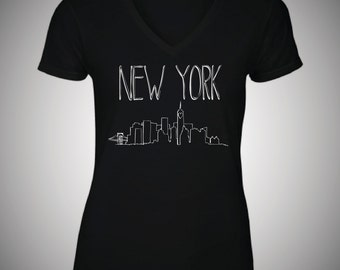 Hand Drawn New York Skyline Design Ladies T shirt