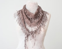 Lace Scarf Mink Scarf Lace Fringe Scarf Triangle Scarf Fringe Shawl Lace Headband Fashion Accessory Women Accessory Mother's Day Gifts