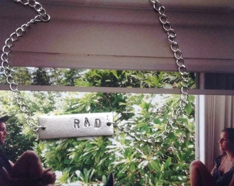 personalized hand-stamped word necklace