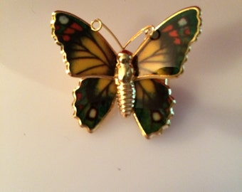 Vintage 1960s multi-colored butterfly pin