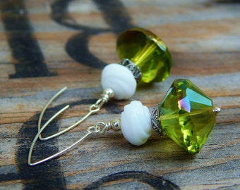 Absinthe & Ice Earrings - Big, Beautiful Czech Glass Crystals, Vintage Glass Swirl Beads, Bali-Style Bead Caps w Handmade Sterling Ear Wires