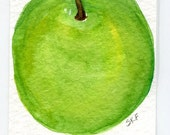 ACEO Apple Painting watercolor, ACEO, Apple  Original painting. Bright Green Apple art card