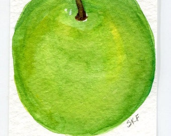 ACEO Apple Painting watercolor, ACEO Original Farmhouse decor. Bright Green Apple art card, SharonFosterArt