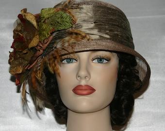 Downton Abbey Hat Flapper Hat Gatsby Hat Tea Party Hat Church Hat Wedding Hat Roaring Twenties Hat Cloche Hat Brown Hat Sinamay - Spice Tea