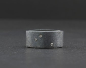 Scattered Diamond Ring - Alternative Wedding Band - Unique Engagement Ring - Flush Set Diamonds - Starry Night Ring - Dark Rough Finish