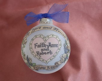 Wedding Keepsake Personalized Ornament, Handpainted, Totally Original Design, WITH DISPLAY STAND