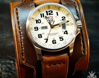 Leather cuff watch LUMINOX Vintage Brown style watch cuff Wide layered Refined quality Wristwatch Handmade for YOU in NYC by Freddie Matara!