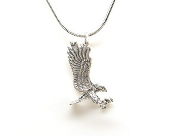 Eagle Landing Sterling Silver 3D Bird Animal Charm Pendant Customize no. 2183