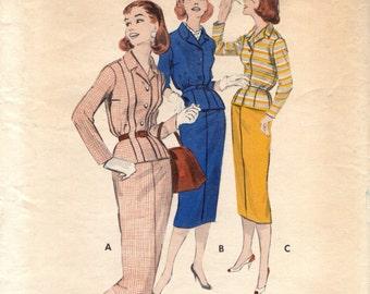 Butterick 8422 BLOUSED BACK SUIT Size 14 Vintage 1950s