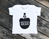 Birthday Bear - Baby / Infant Cotton TShirt in White with Black Print