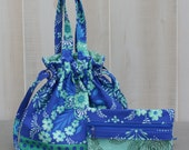 Sock Knitting Bag Blue Floral with Polka Dot and Zippered Accessory Bag