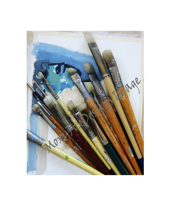 Paintbrushes Card Epson Photo Card 5 x 7 Inches Photo Card Mounted on Watercolor Paper Still Life Blank Inside, FREE US Insurance