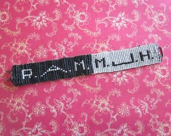 SALE Vintage Handmade Beaded Cuff Bracelet