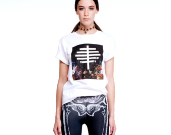 Unisex T shirt, Graphic Tee, White Cotton T Shirt, Skeleton T shirt, Modern T shirt, Ribcage Tee, Graphic Tee, Gothic Tee, Norwegian Wood