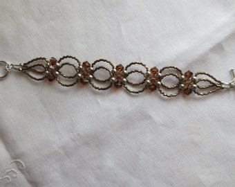 Double Loop Bracelet in Topaz and Silver