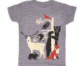 KIDS Forest Friends - T-shirt Boy Girl Toddler Youth Children Tee Shirt Fox Rabbit Deer Bear Owl Racoon Bird Woodland Nature Animal Tshirt