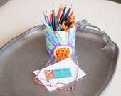 Utensil Canister Pencil Jar Desk Organization Small Kitchen Utensil Canister Colorful Ceramic Pottery Office Organization Artist Gift J