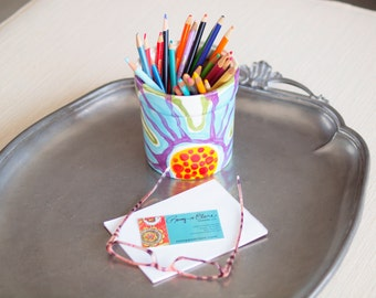 Utensil Canister READY to SHIP Pencil Jar Desk Organization Small Kitchen Utensil Canister Colorful Ceramic Pottery Pencil Jar Artist Gift J