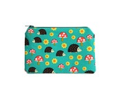 CHOOSE SIZE Mini Zipper Pouch / Hedgehog Camera Bag on Teal with Mushrooms