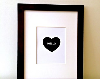valentine. hello heart art print. black and white conversation heart design. art print. nursery art. child's room decor.
