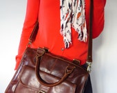 Leather Handbag Pocket Bag Satchel Brown