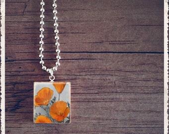 Scrabble Art Pendant - Orange Poppies - Scrabble Game Tile Jewelry - Customize