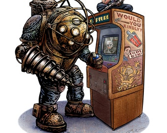 One More Game? 11 x 14 Signed Print -Bioshock tribute print