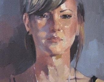"Art Portrait Painting ""Sadie"" original oil by Oregon artist Sarah Sedwick 14x11in"
