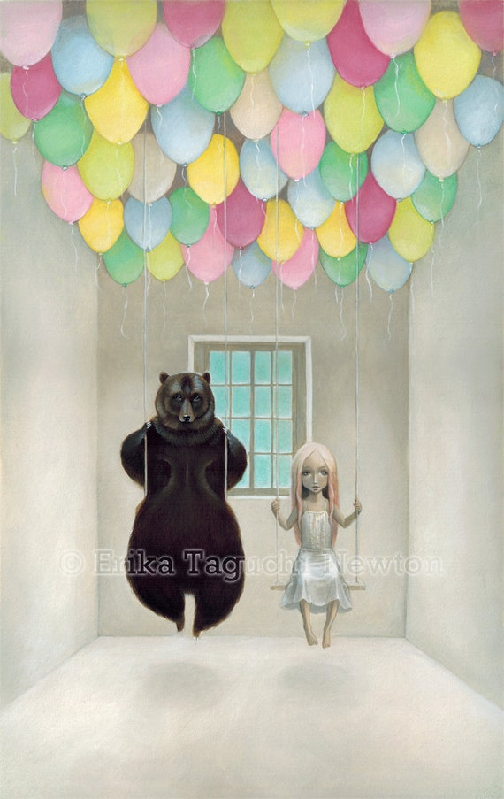 "Bear with Girl Art, Balloon Painting, Pop Surrealism Fine Art Print,  ""Balloon-filled Room"""
