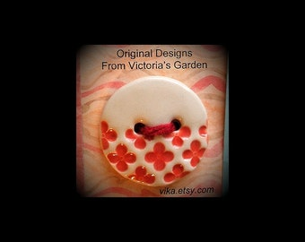 Ceramic Buttons: Retro Red and White