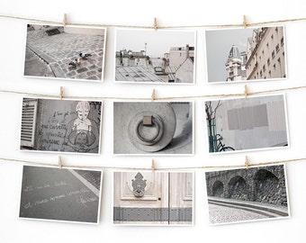 SALE! Paris Postcard Set, Gray Travel Postcards 4x6 Art Print, Modern Urban, Paris Print Gallery Wall Set, First Apartment Dorm Decor