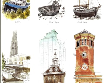 Nautical Print - Lighthouse Boat Book Page, Print - King's Lynn - UK - Vintage Maritime Art - David Gentleman - Coastline - 1980s