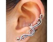 Silver Ear Cuff - Swirl Ear Cuff - Swirl Earrings - French Twist Ear Cuff - Wave Ear Cuff - Non-Pierced Earring - Wedding Jewelry