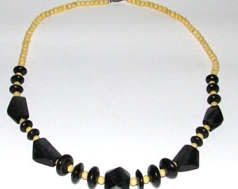 Vintage Necklace - Beaded - Chunky Iridescent Charcoal - Straw Beads