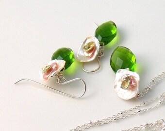Keishi Pearl and Peridot Green Quartz Pendant and Earrings Set in Sterling, Layered Keishi Pearls, Botanical, Gardens, Artisan Made Original