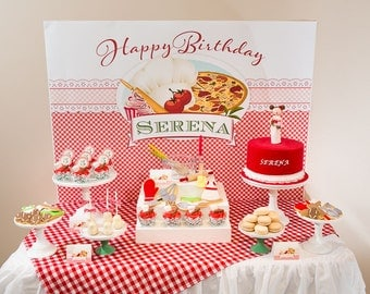 ITALIAN BAKING PARTY Red Gingham Pizza Cupcakes Printable Party Backdrop - you print