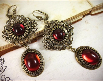 Red Renaissance Earrings, Ruby, Borgias, Tudors, Medieval Costume, Bridal Jewelry, Ren Faire, Garb, Queen, Victorian Chandeliers, Bridesmaid