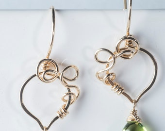 Dafna: Coiled Colorful Gemstone Earrings w/ Vine Motif, Peridot, Bright Green, Gold-filled, Drop, Petite, Bridesmaids Gift