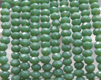3.5x2.5mm Faceted Opaque Sage Green Chinese Crystal Rondelle Beads 7 Inch Strand (35CCS9)