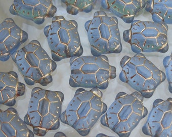 20x8mm Transparent Sapphire with Gold Wash Czech Glass Turtle Beads - Qty 5 (BS30)