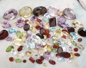 Genuine Natural gemstone lot by the carat - Peridot, Blue Topaz, Garnet, Rose Quartz, Smoky, Citrine, Amethyst Garnet, White Topaz - parcel