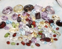 Genuine Natural gemstone lot by the carat - Peridot, Blue Topaz, Garnet, Rose Quartz, Smoky, Citrine, Amethyst Garnet, White Topaz - parcel