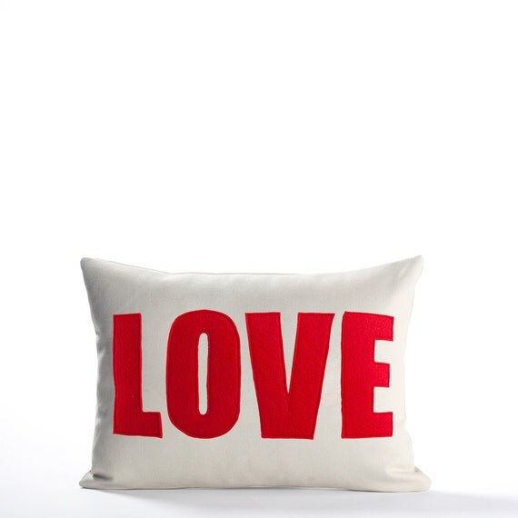 "Decorative Pillow, Throw Pillow,  ""Love"" pillow, 10X14 inch"