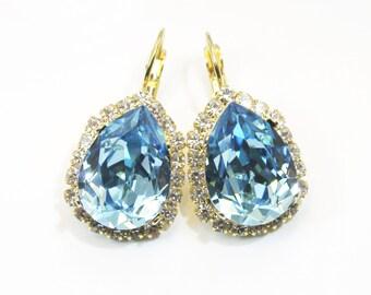 Aqua Blue Crystal Earrings Clear Halo Chandelier Drop Earrings Aquamarine Crystal teardrop earrings real Swarovski Gold finish, GE101