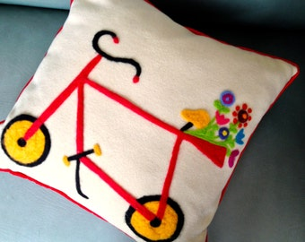 A Spring  Flower Bicycle Delivery Needle Felted Pillow //Decorative Throw Pillow // Recycled Fiber Art
