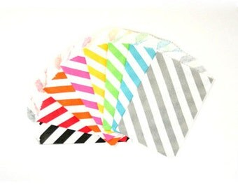 "25 Small Diagonal Stripe Paper Treat Bags or Favor Bags . Choose from 8 Colors . 2.75"" x 4"""