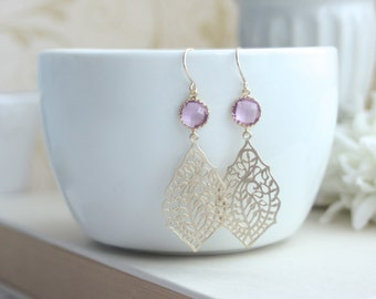 Paisley Peacock Filigree, Light Lavender Pink,  Sweet Pink Gold Glass Drop Dangle Earrings. Modern, Bridesmaid Gift. Sister, BFF, Wife Gift.