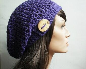 Crochet Hemp Slouchy Beanie Hat - Handmade Purple Amethyst Hat - Button Tab Slouchy Hat hemp wool Winter Accessories Hemp Wool ready to ship