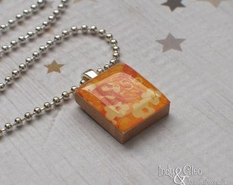 Abstract Floral Scrabble Necklace, Handmade Scrabble Tile Art Pendant, Flower Design, Wood Pendant, Tiny Jewelry, Upcycled Game Piece